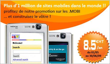 promotion nom de domaine .MOBI