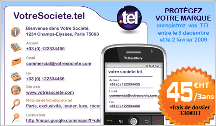 nom de domaine .TEL 45€ HT/3ans + frais de dossier